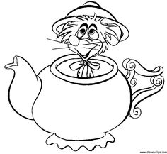 Alice in wonderland mad hatter tea party coloring page