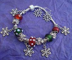 Christmas Holiday Snowflake European Charm Bracelet-Free Earrings-USA Seller
