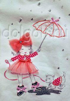рисунок девочки с аппликацией на футболке