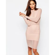 Missguided Mesh High Neck Body-Conscious Dress (€45) ❤ liked on Polyvore featuring dresses, nude, tall dresses, bodycon cocktail dress, bodycon midi dress, midi dress and pink bodycon dress