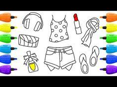 How to Draw Set for Girls  Lipstick, Nail Polish, Shorts, Shirt, Headphones and Handbag  - Vidinterest