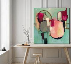 Awakenings abstract painting, abstract art Sarina Diakos Art in coral pink and green Original Artwork, Original Paintings, Painting Prints, Art Prints, Abstract Wall Art, Contemporary Abstract Art, Painting Abstract, Colorful Paintings, Modern Wall Art