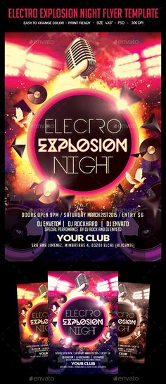 Electro House Flyer Template Pinterest Club parties, Flyer