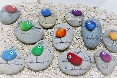 """Find and save images from the """"Kreativ - Rock / Stone / Pebble Art"""" collection by Gabis Welt :) (gabi_zitzen) on We Heart It, your everyday app to get lost in what you love. Rock Painting Patterns, Rock Painting Ideas Easy, Rock Painting Designs, Pebble Painting, Pebble Art, Stone Painting, Stone Crafts, Rock Crafts, Arts And Crafts"""