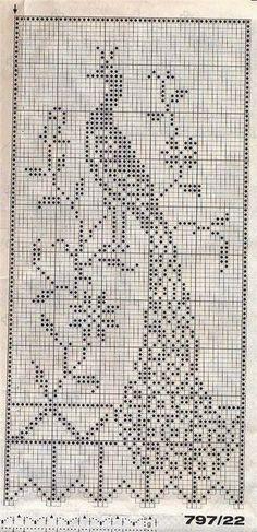 Entretejida: Cortinas a crochet/ Filet con pavos reales                                                                                                                                                      Más