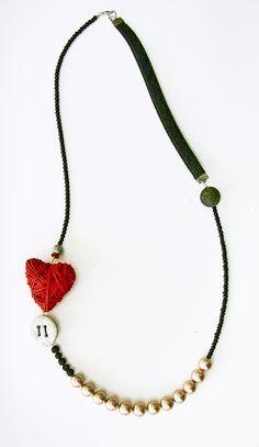 necklace by Xanthippe Tsalimi Wire Jewelry, Jewelry Art, Beaded Jewelry, Jewelery, Jewelry Accessories, Beaded Necklace, Pendant Necklace, Recycled Jewelry, Handmade Jewelry