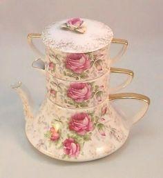 Lovely Lefton Pink Roses Rosebuds Antique Gilded Stacking Teapot Tea Set   eBay