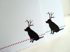 Black Lab Personalized Christmas Cards - Labrador Silhouette with Antlers Stationery -