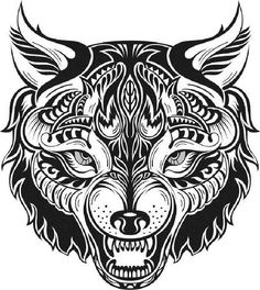 Illustration about Totem black and white animal wolf tattoo. Illustration of ornament, lines, symbol - 45799300