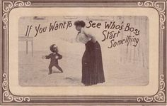 Antique COMIC POSTCARD c1907-15 Small Man Woman See Who's Boss 13971
