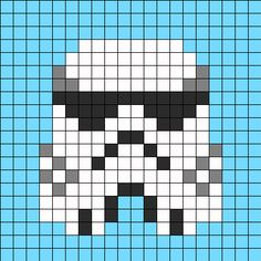 Free Hello Kitty Stormtrooper With Bow Hama Perler Bead Pattern or Cross Stitch Chart Fuse Bead Patterns, Perler Patterns, Beading Patterns, Kandi Patterns, Beaded Cross Stitch, Cross Stitch Embroidery, Cross Stitch Patterns, Minions Amigurumi, Amigurumi Doll