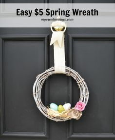 This Easy $5 Spring Wreath is so cute! I want to make one for my front door.