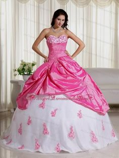 65b94effee Pink And White Ball Gown Sweetheart Floor-length Taffeta Appliques Quinceanera  Dress http