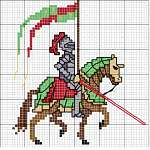 Click to download free Medieval Knight counted cross stitch patttern chart