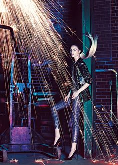 Sparks Fly: Shiny, metallic looks sparkle in Canada's Fashion Magazine. Photographed by Chris Nicholls