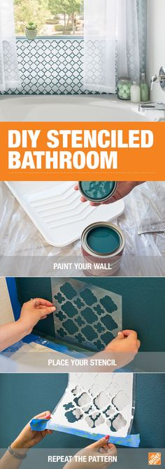 Paint a seamlessly patterned accent wall in your bathroom with help from BEHR and our step-by-step tutorial. Use the color combination and stencil pattern of your choice to achieve the right look for Diy Home Decor, Room Decor, Tips And Tricks, Stencil Diy, Stenciling, My New Room, Home Projects, Diy Furniture, Home Improvement