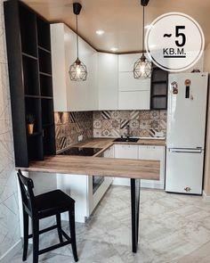 Kitchen Room Design, Kitchen Dinning, Modern Kitchen Design, Home Decor Kitchen, Kitchen Furniture, Kitchen Interior, New Kitchen, Small Apartment Interior, Small Apartment Kitchen