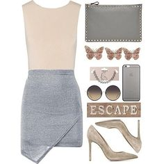 Simply sweexy. Show some love  and REPIN. Click the pic and shop this look. **** #ShopStyleCollective #MyShopStyle #ootd  #mylook ##spr#lookoftheday #currentlywearing #wearitloveit #getthelook #todaysdetails #gray #skirt #clutch #bag #pump #shoes #suede #nude #sunglasses #choker