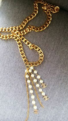 Long necklace with pearls by ellishoesandsandals on Etsy