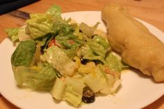 Salad and Breadsticks with Alfredo Dipping Sauce Recipe