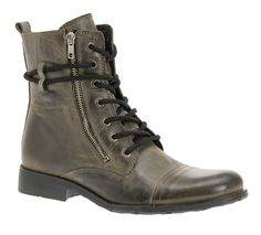 Mens olive tone boot w/ side-zip & patina toe accent...