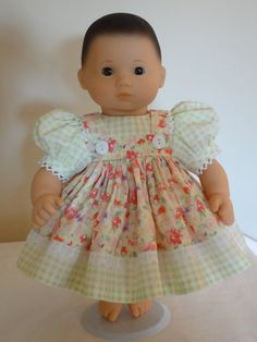 PLAID School Tan Dress Doll Clothes Fo Bitty Baby Girl /& Twin Debs