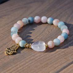 Attracting Love Affirmation Chakra Bracelet  Morganite and Rose Quartz