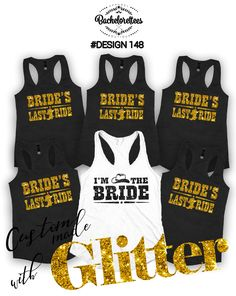 Brides Last Ride Bridal party shirts, Bridesmaid gift, bridesmaid shirt, Country Bachelorette shirts, Set of 2,3,4,5,6,set of 7,8,9,10,11,12 by Bachelorettees on Etsy