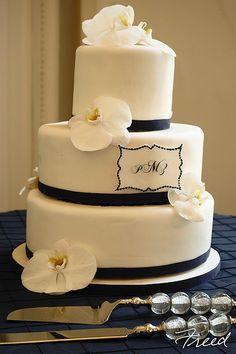 Orchid Monogram by K. Rose Cakes - Washington, D.C.  #madeintheusa #weddings