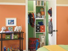 Stonebriar (SW Copper Harbor (SW Pickle (SW Casa Blanca (SW Looking for a fun green for a pantry closet. Kids Room Paint, Room Paint Colors, Interior Paint Colors, Interior Design, Bedroom Decorating Tips, Decorating Ideas, Kids Room Furniture, Furniture Board, Orange Rooms