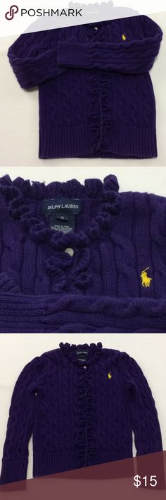 Girls Polo Ruffle Front Cardigan 5 Ruffle Front purple cardigan from Ralph Lauren. Long sleeves, cable knit with contrast yellow logo. Has a small pull on back of neck as shown in photos. Size 5 Polo by Ralph Lauren Shirts & Tops Sweaters