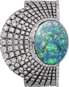 Best Diamond Bracelets  : CARTIER. High Jewellery Aten secret hour watch quartz movement. Rhodium-finis