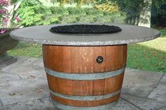 "Short 30"" wine barrell fire table"