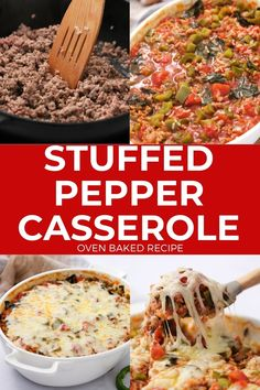"""Easy Stuffed Pepper Casserole made with green peppers, ground beef, diced tomatoes and rice smothered in mozzarella cheese. These """"unstuffed"""" peppers are baked in the oven for a classic dinner recipe. Easy Meat Recipes, Delicious Dinner Recipes, Baking Recipes, Vegetarian Recipes, Easy Meals, Easy Stuffed Peppers, Stuffed Pepper Casserole, Meaty Lasagna, Unstuffed Peppers"""