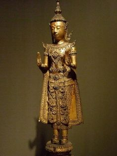 Standing crowned and bejeweled Buddha Thailand Lacquered and gilded bronze 1850-1900 CE