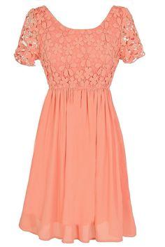 Flower Web Crochet Lace Dress in Orange Peach