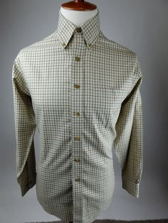 Brooks Brothers Traditional Tattersall Beige Tan Long Sleeve Button Shirt Men M #BrooksBrothers #ButtonFront