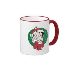 Christmas Betty Boop with Wreath and Mistletoe. Regalos, Gifts. Producto disponible en tienda Zazzle. Tazón, desayuno, té, café. Product available in Zazzle store. Bowl, breakfast, tea, coffee. #taza #mug