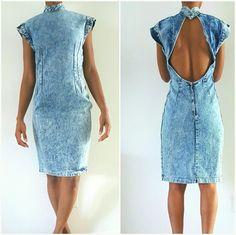 Jean Open Back Vintage Dress