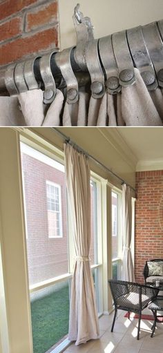 creative way to hang outdoor curtains or even to use inside for industrial/masculine look