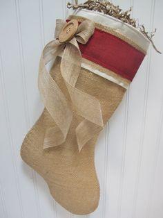 Burlap Christmas Stocking. $30.00, via Etsy.