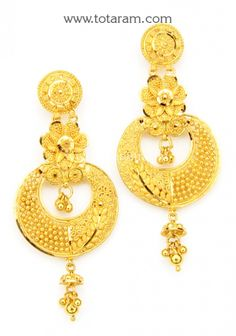ChandBali Earrings - 22K Gold Drop Earrings: Totaram Jewelers: Buy Indian Gold jewelry & 18K Diamond jewelry Gold Jhumka Earrings, Buy Earrings, Gold Earrings Designs, Gold Jewellery Design, Gold Drop Earrings, Bridal Jewelry Vintage, Bridal Jewellery, Terracotta Earrings, Gold Jewelry Simple