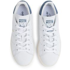Adidas Stan Smith Shoe (3,985 DOP) ❤ liked on Polyvore featuring shoes, leather tennis shoes, blue tennis shoes, striped shoes, perforated shoes and real leather shoes