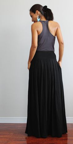 Black Maxi Skirt -  Long Skirt : Autumn Thrills Collection on Etsy, $52.00
