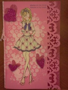 Valentines Day Card made with Julie Nutting Prima Doll Stamp and Tag - by Carla Bange