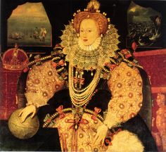 """The """"Drake"""" version of the Armada Portrait of Elizabeth I, c. 1588 by an unknown artist. Private collection. Possibly commissioned by Sir Francis Drake. Compare the Armada Portrait by George Gower at Woburn Abbey."""