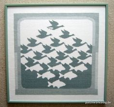 kreuzstich-bild-mc-escher-aero-und-aqua-patchwork-quilt Mc Escher, Famous Artists Paintings, Aqua, Quilt Patterns, Needlework, Creativity, Cross Stitch, Quilts, Random