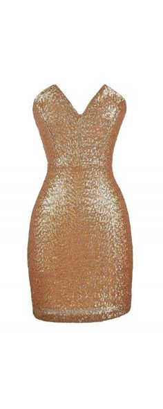 nice All Aglow Gold Sequin V Dip Dress  www.lilyboutique.com...
