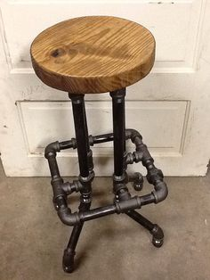 Industrial Bar Stool with Round Top by SawdustIndustries on Etsy, $175.00