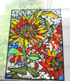 Stained Glass Mosaic Sunflowers